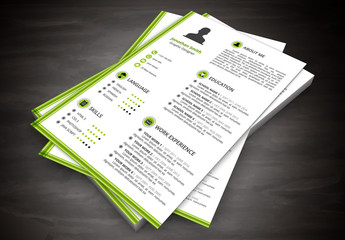 """Resume Layout with Green """"L"""" Border"""