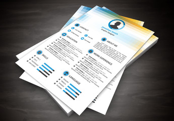 Resume Layout with Gradient Square Pattern Header