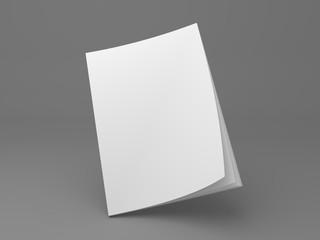 Blank magazine standing on corner 3D illustration mockup