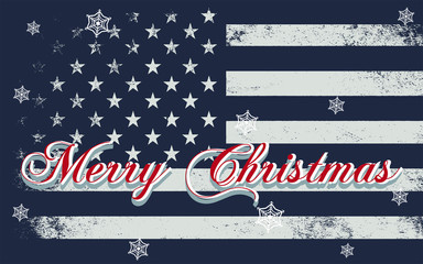 Merry Christmas lettering on a USA flag. Vector illustration. Element for greeting cards, posters.