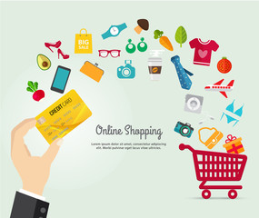 Online shopping e-commerce concept. business order item store online on smartphone,tablet and Pay by credit card quick and easy.Can used for infographic,web advertising.Market vector illustration