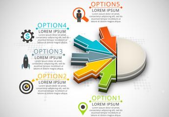 3D Arrow Pie Chart Element Infographic