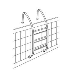 Swimming pool ladder. Black and white image. Illustration, isolated on white. Vector.