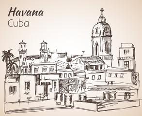 Havana sityscape sketch. Cuba.