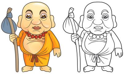 Cartoon Buddha preparing for a long journey