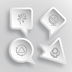 4 images: abstract plant, globe and recycling symbol, recycle sy