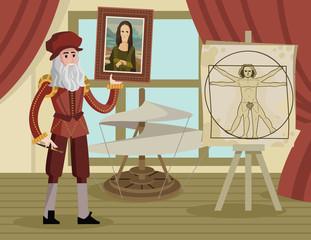 da vinci vitruvian man drawing and helicopter and mona lisa