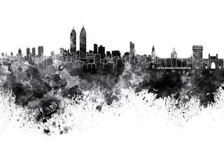 Wall Mural - Mumbai skyline in black watercolor background