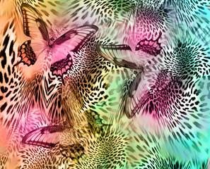 blue butterfly leopard background
