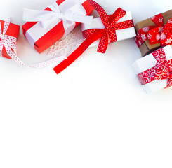 Christmas gift box with red ribbon.