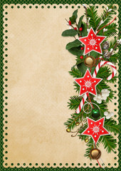 Christmas greeting card with pine branches, Christmas bells, garland of stars and berries branches