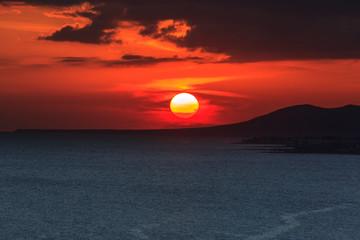 Sunset on the sea. Lanzarote