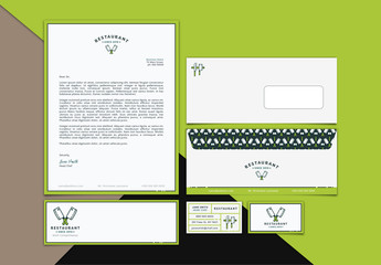 Restaurant Branding Stationery Layout Kit