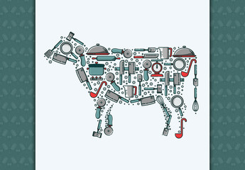 Kitchen and Cutlery Patterned Cow Illustration