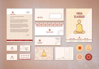 Yoga Studio Branding Stationery Layout Kit