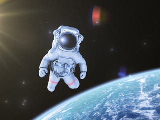 Astronaut in space, 3d render,