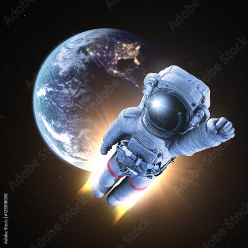 Astronaut conquers outer space 3d render stock photo for 3d outer space