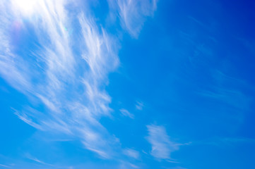 Sky with Cirrus clouds.