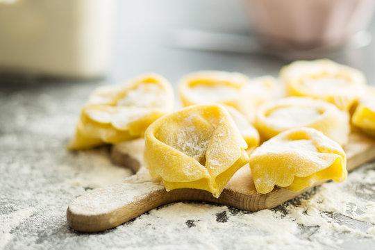 Italian traditional tortellini pasta.
