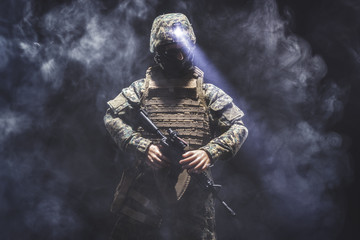 Portrait of a soldier surrounded by smoke