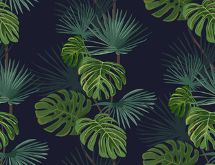 Seamless pattern with tropical leaves. Hand drawn background.