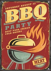 BBQ party retro sign design layout