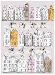 Winter illustration. Funny Birds skating with lanterns between houses . Vector illustration of winter city.