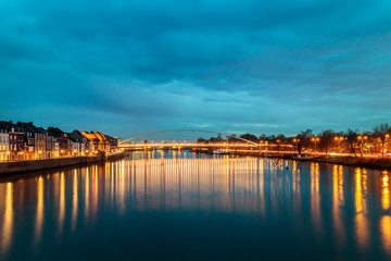 Evening view at the Maas river in the Dutch city of Maastricht