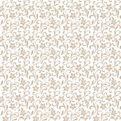 Seamless pattern with abstract flowers on a white background