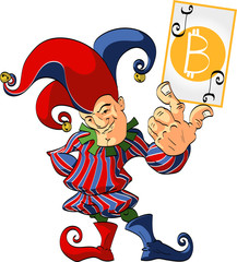 Colorful vector illustration of a Joker, holding a winning bitcoin card