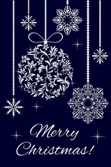 Elegant card - Merry Christmas! Christmas decorations from a floral ornament