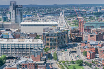 Zakim Bridge and Boston Garden as seen from the observatory at the Custom House building