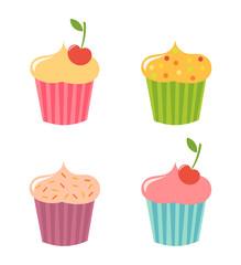 Cupcakes icons set
