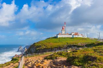 Foto auf AluDibond Himmelblau Lighthouse at cabo da Roca, Portugal.