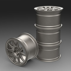 Steel disks for a car 3D illustration