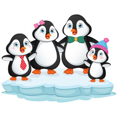 Vector Illustration Of Cartoon Penguin Family