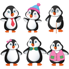 Vector Illustration Of Penguin Family
