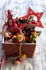 Typical Christmas decorations in a box on wooden background