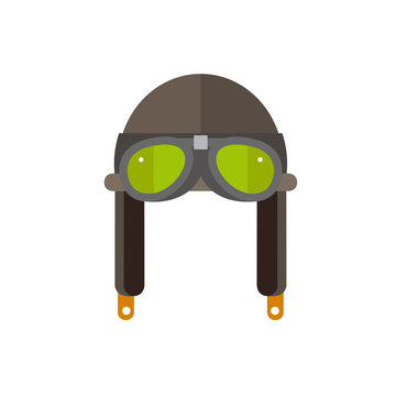 Retro aviator helmet with glasses icon