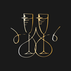 Champagne glasses. Vector illustration. Minimalist concept with line style glass. Two glasses of champagne. Merry Christmas and Happy New Year concept. Symbol of celebration, holiday.
