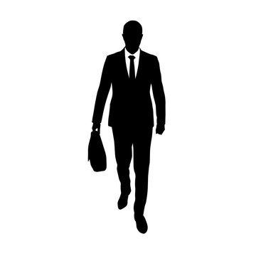 Businessman walking with briefcase in his hand, abstract vector