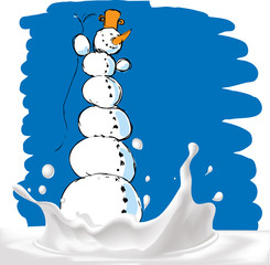 snowman on milk splash - vector illustration