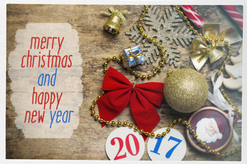 Merry Christmas and Happy New Year card with decor and toys. sun filter image