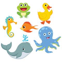 Vector Illustration Of A Cartoon Animals