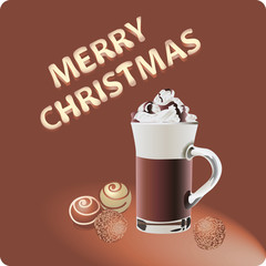 Chocolate Christmas. Vector image. Design the dessert menu, brochures, banners, flyers
