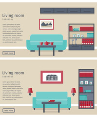 Two banners of living room in flat design. Modern interior with furniture. Background. Vector illustration.