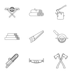 Sawing woods icons set. Outline illustration of 9 sawing woods vector icons for web
