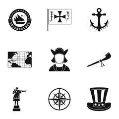Columbus Day icons set. Simple illustration of 9 columbus Day vector icons for web