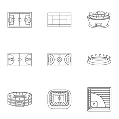 Sports stadium icons set. Outline illustration of 9 sports stadium vector icons for web