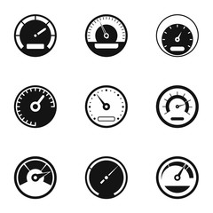 Engine speedometer icons set. Simple illustration of 9 engine speedometer vector icons for web